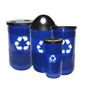 Witt Blue Standard Series Outdoor Recycling Receptacles Transparent