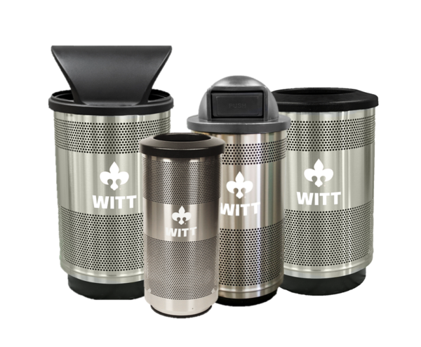 Witt Industries Stainless Steel Collection Commercial Waste Receptacles Transparent