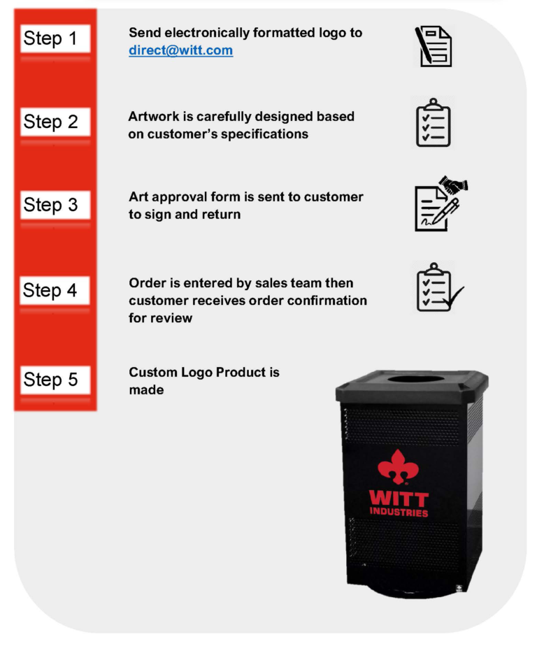 Witt Outdoor Waste Receptacle 5 Step Logo Customization Process Instructions