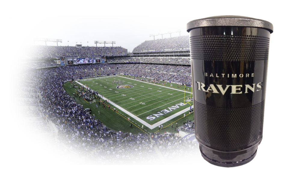 Witt Industries White Ravens Black Outdoor Receptacle with Flat Top and Stadium Behind Shadowed