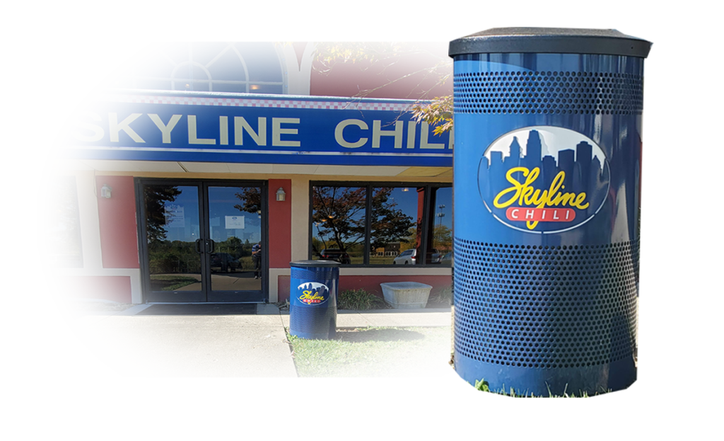 Witt Commercial Trash Can Yellow, Red, and White Skyline Blue with Flat Top and Restaurant Behind Shadowed