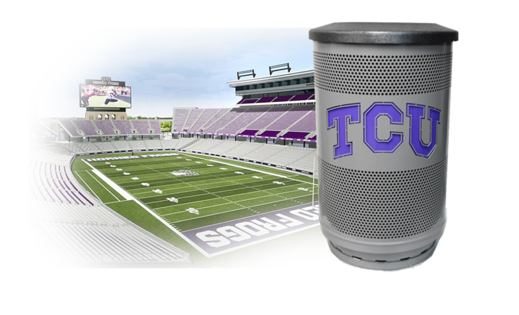 Custom Logo Purple TCU Silver Commercial Waste Receptacles with Flat Top and Stadium Behind Shadowed