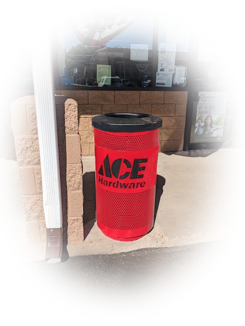 Custom Logo Ace Hardware Commercial Trash Can Storefront Faded